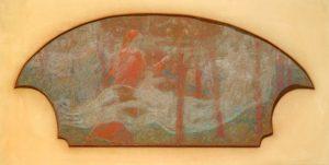 O DRAMA - INSPIRAÇÃO POÉTICA - ESTUDO PARA O PAINEL LATERAL DO FOYER DO THEATRO MUNICIPAL DO RIO DE JANEIRO - GIZ/PAPEL - 31 x 59 cm – c.1914 - CENTRO DE DOCUMENTAÇÃO DA FUNDAÇÃO TEATRO MUNICIPAL DO RIO DE JANEIRO