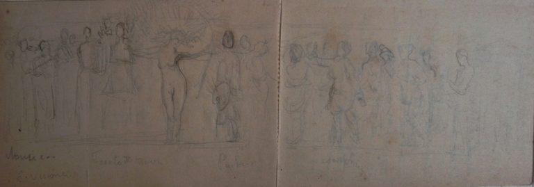 FIGURAS - ESBOÇO PARA PAINEL DECORATIVO - GRAFITE S/ PAPEL - 7,5 x 24,0 cm - c.1910 - COLEÇÃO PARTICULAR