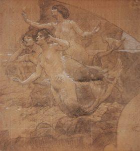 A ARTE LÍRICA - ESTUDO PARA O PAINEL LATERAL DO FOYER DO THEATRO MUNICIPAL DO RIO DE JANEIRO - CRAYON E GIZ S/ PAPEL - 76 x 71 cm - c.1913 - COLEÇÃO PARTICULAR