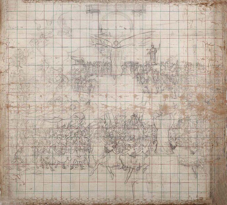 A INFLUÊNCIA DAS ARTES SOBRE A CIVILIZAÇÃO - ESTUDO PARA O PANO DE BOCA DO THEATRO MUNICIPAL DO RIO DE JANEIRO - CARVÃO E GIZ SOBRE TELA - 2,00 x 2,40 m - c.1905 - MUSEU NACIONAL DE BELAS ARTES - MNBA - RIO DE JANEIRO/RJ