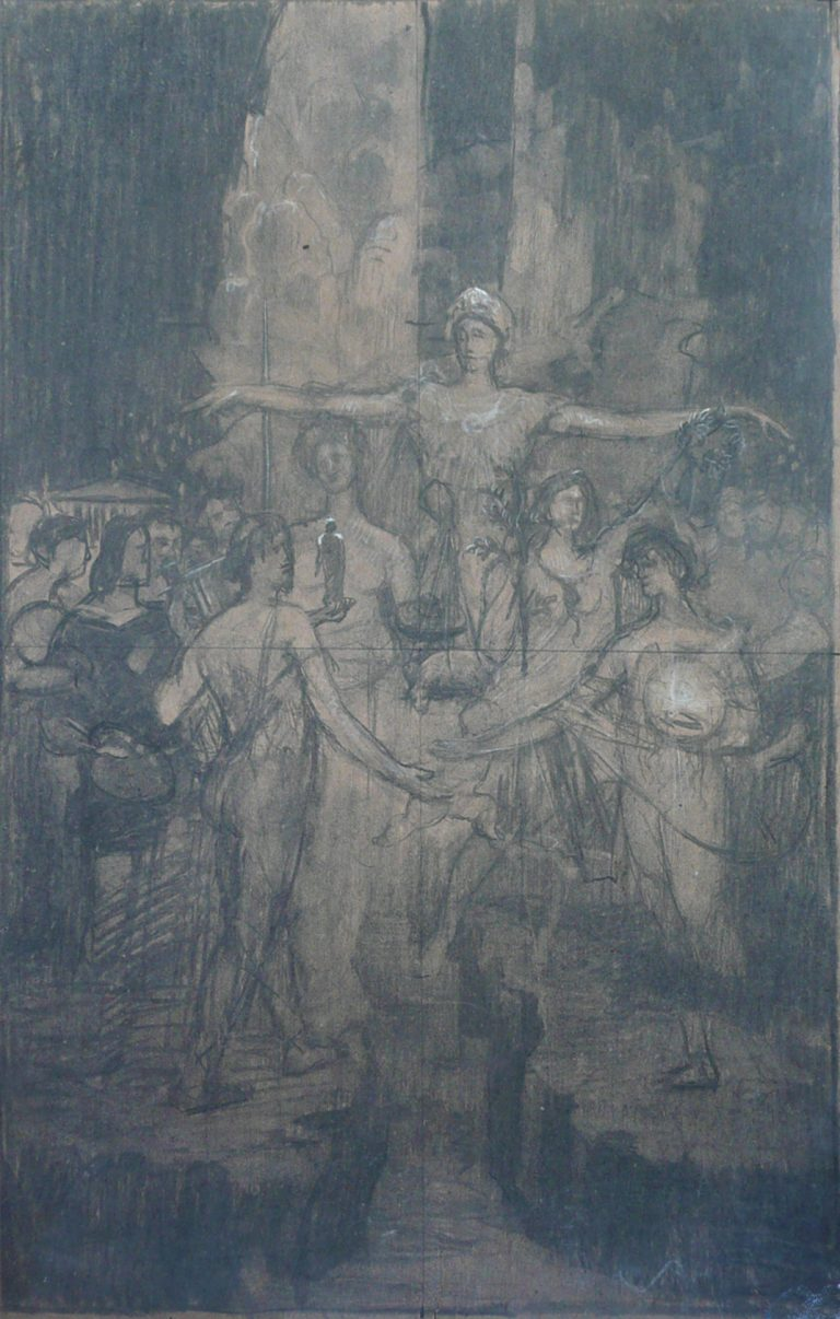 INSTRUÇÃO (SOLIDARIEDADE HUMANA) - ESTUDO PARA O PAINEL DA BIBLIOTECA NACIONAL - CARVÃO E GIZ SOBRE PAPEL - 67 x 47 cm - c.1910 - COLEÇÃO PARTICULAR