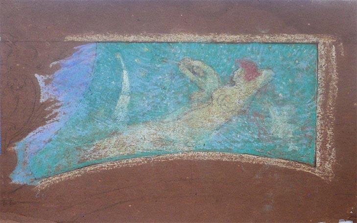 FIGURAS - ESTUDO PARA O THEATRO MUNICIPAL DO RIO DE JANEIRO - PASTEL - 27 x 40 cm - c.1905 - COLEÇÃO PARTICULAR