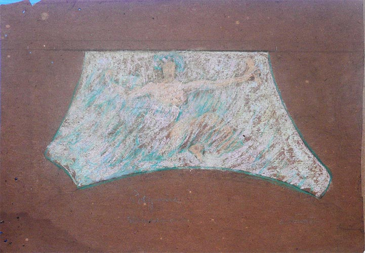 FIGURA - ESTUDO PARA O THEATRO MUNICIPAL DO RIO DE JANEIRO - PASTEL - 26 x 37 cm - c.1905 - COLEÇÃO PARTICULAR
