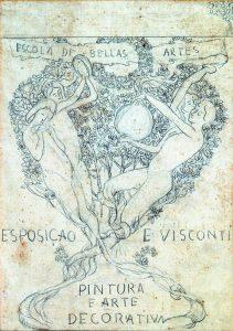 AS ARTES - ESTUDO PARA A CAPA DO CATÁLOGO DA EXPOSIÇÃO DE 1901 - GRAFITE/PAPEL - 25 x 18 cm - 1901 - COLEÇÃO PARTICULAR
