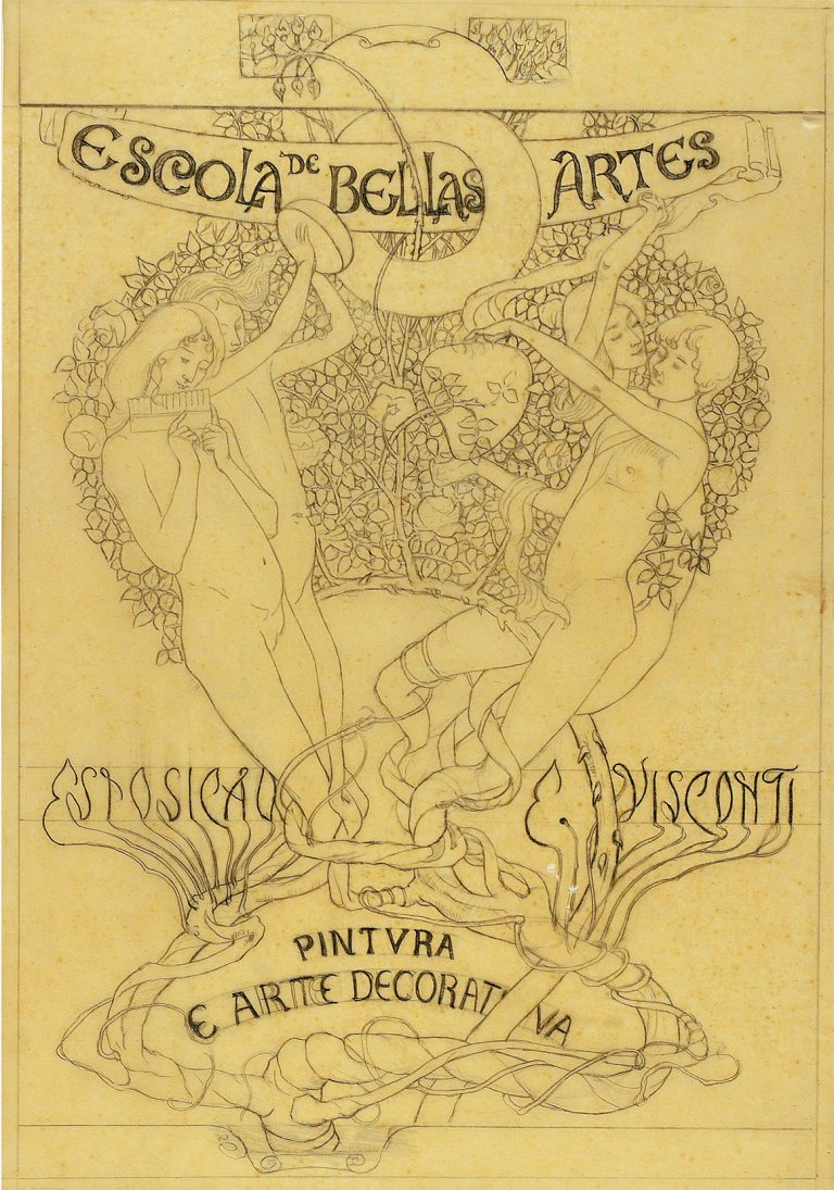 AS ARTES - ESTUDO PARA A CAPA DO CATÁLOGO DA EXPOSIÇÃO DE 1901 - GRAFITE/PAPEL MANTEIGA - 46 x 31 cm - 1901 - COLEÇÃO PARTICULAR