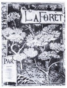 LA FORÊT - ESTUDO PARA CAPA DE LIVRO - FUSAIN E PASTEL/PAPEL - 45 x 35 cm - c.1900 - COLEÇÃO PARTICULAR