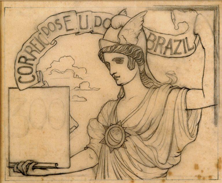 O COMÉRCIO - ESTUDO PARA SELO INTEGRANTE DA COLEÇÃO VENCEDORA DO CONCURSO DOS CORREIOS DE 1904 - GRAFITE/PAPEL - 19 x 24 cm - c.1903 - COLEÇÃO PARTICULAR