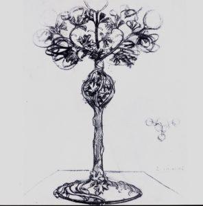 LUMINÁRIA - LÁPIS E FUSAIN/PAPEL - 90 x 60 cm - c.1900 - COLEÇÃO PARTICULAR