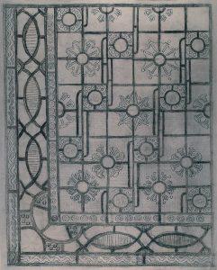 COMPOSIÇÃO GEOMÉTRICA - ESTUDO PARA PISO - CARVÃO/PAPEL - 53 x 41 cm - c.1900 - COLEÇÃO PARTICULAR