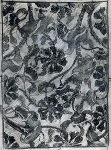 PLANTAS E FLORES ESTILIZADAS - ESTUDO PARA TECIDO - CARVÃO/PAPEL - 59 x 43 cm - c.1901 - COLEÇÃO PARTICULAR