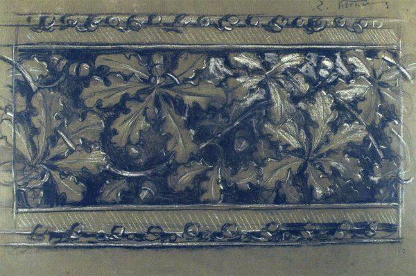 FOLHAS DE CARVALHO - ESTUDO PARA FRISO - CARVÃO E GIZ/PAPEL - 37 x 55 cm - c.1900 - COLEÇÃO PARTICULAR