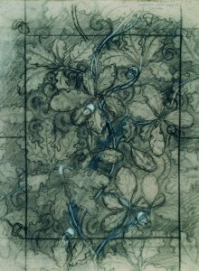 CARVALHO - ESTUDO PARA TECIDO - CRAYON/PAPEL - 73 x 48 cm - c.1899 - COLEÇÃO PARTICULAR
