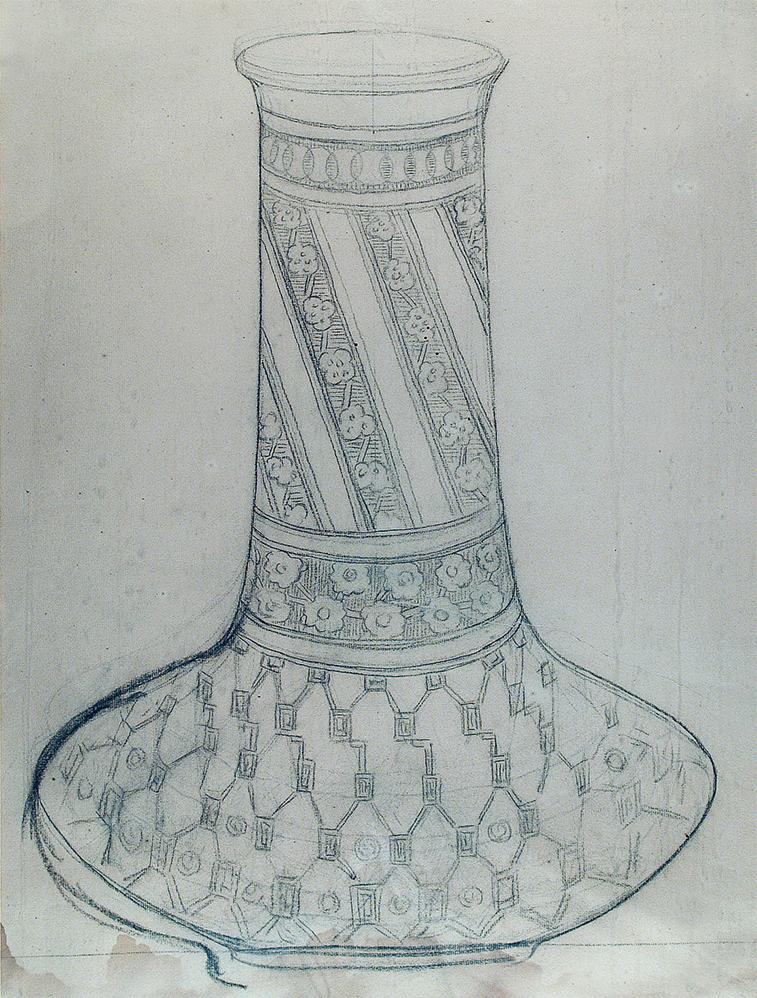 VASO LISTRADO - ESTUDO PARA VASO - CRAYON/PAPEL - 56 x 42 cm - c.1900 - COLEÇÃO PARTICULAR