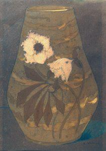 VASO COM FLORES - ESTUDO PARA VASO EM PORCELANA - GUACHE E CRAYON/PAPEL - 48 x 34 cm - c.1900 - COLEÇÃO PARTICULAR