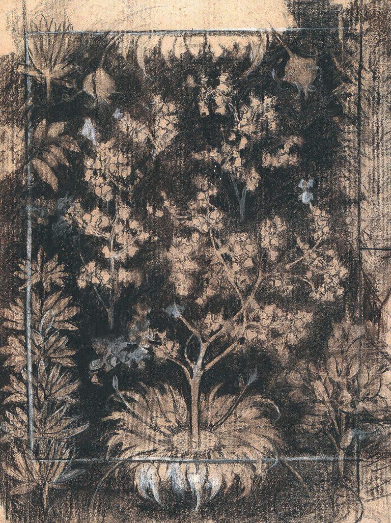 ÁRVORES/ETOFFE IMPRIMÉE - ESTUDO PARA TECIDO - CARVÃO E GIZ/PAPEL - 62 x 48 cm - c.1897 - COLEÇÃO PARTICULAR