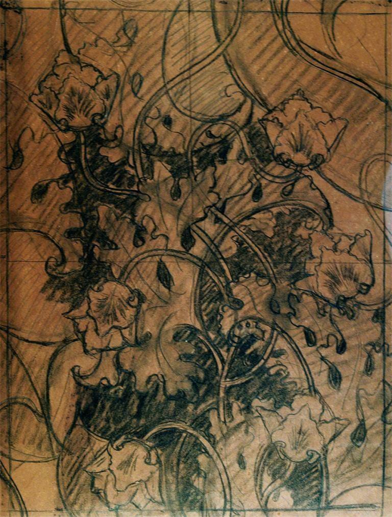 VEGETAL - ESTUDO PARA TECIDO-CRAYON/PAPEL - 50 x 38 cm - c.1900 - COLEÇÃO PARTICULAR