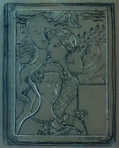 QUATRO ESTAÇÕES - ESTUDO PARA CAPA DE LIVRO - CRAYON, CARVÃO E PASTEL/PAPEL - 45 x 35 cm - c.1902 - COLEÇÃO PARTICULAR