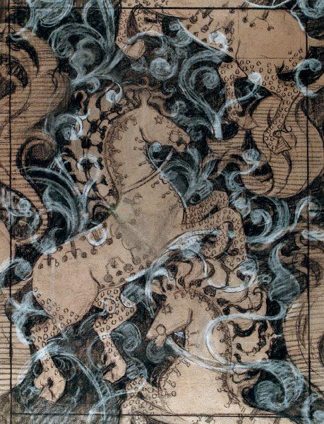 CAVALOS - ESTUDO PARA DECORAÇÃO DE PISO OU ESTAMPARIA DE TECIDO - CARVÃO E GIZ S/ PAPEL - 54 x 41 cm - c.1900 - COLEÇÃO PARTICULAR