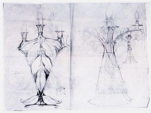 CASTIÇAL E LUMINÁRIA - FUSAIN E GRAFITE/PAPEL - 48,5 x 62,0 cm - c.1900 - LOCALIZAÇÃO DESCONHECIDA