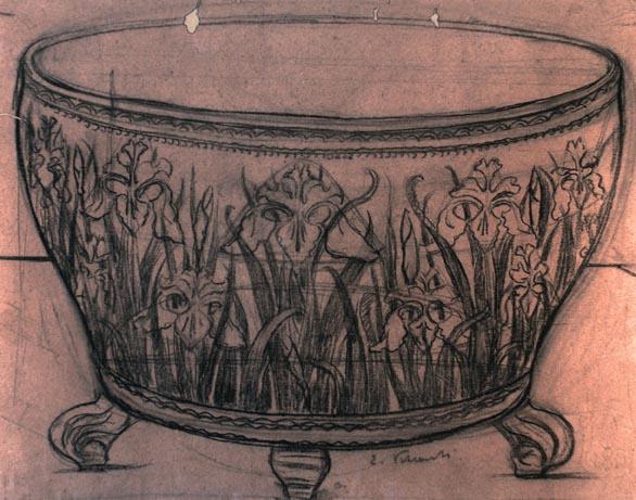 VASO COM IRIS SELVAGENS - ESTUDO PARA VASO - GRAFITE E CARVÃO/PAPEL - 55 x 66 cm - c.1900 - COLEÇÃO PARTICULAR
