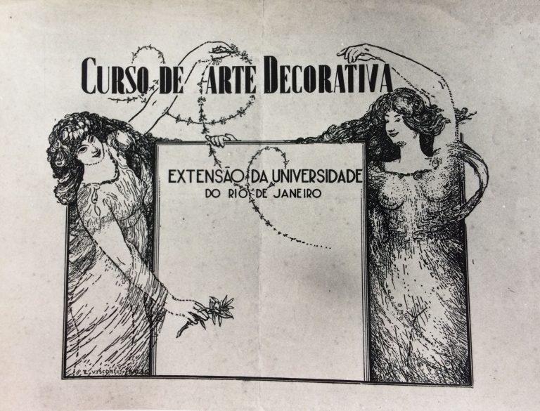 CARTAZ DO CURSO DE ARTE DECORATIVA DE VISCONTI - NANQUIM/PAPEL - 26,0 x 37,0 cm - 1936 - LOCALIZAÇÃO DESCONHECIDA