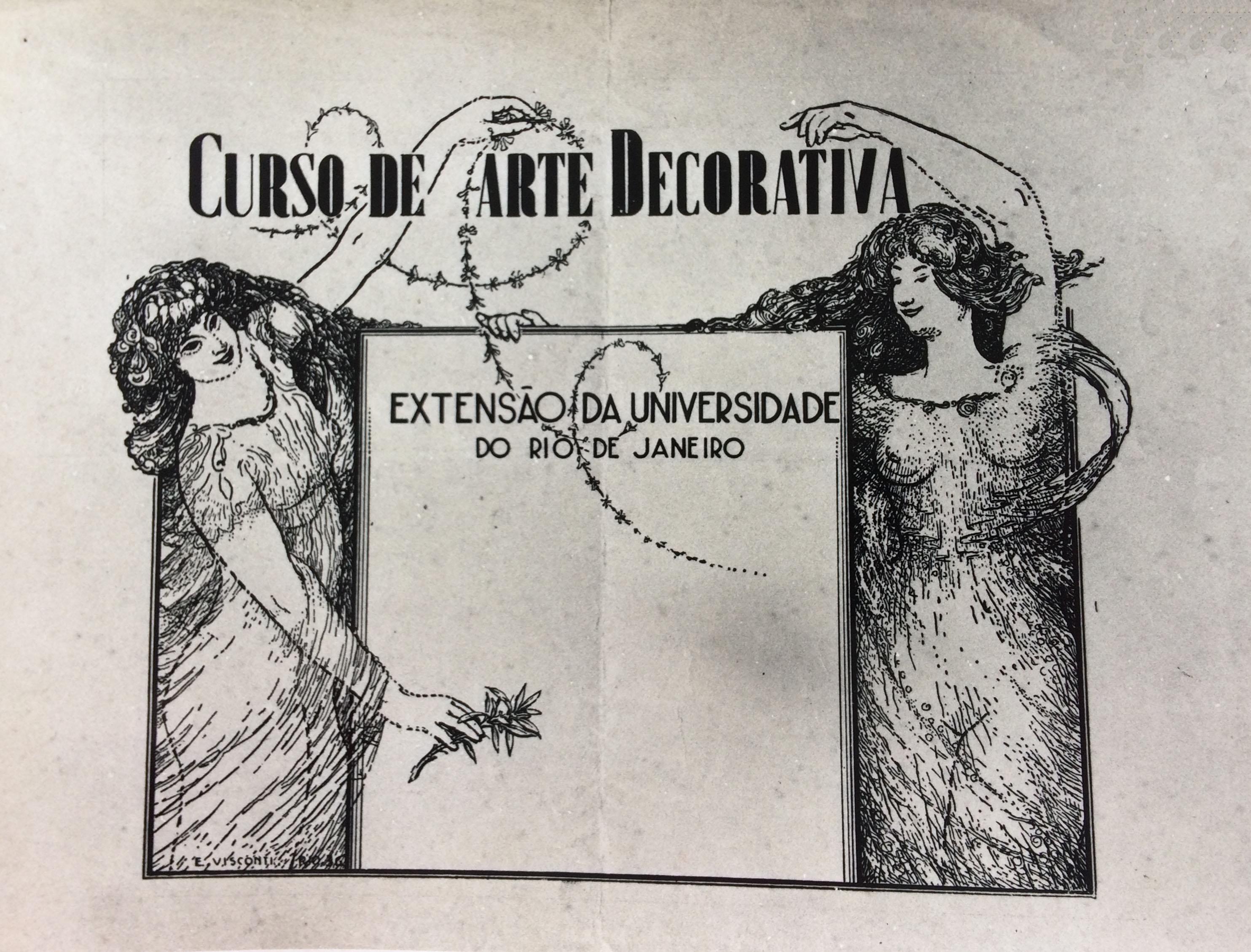 CARTAZ DO CURSO DE ARTE DECORATIVA DE VISCONTI - NANQUIM/PAPEL - 1936 - COLEÇÃO PARTICULAR