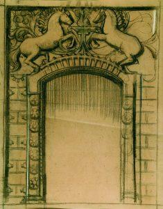 PORTAL ENCIMADO POR CAVALOS - ESTUDO - CRAYON E GIZ/PAPEL - 62 x 48 cm - c.1900 - COLEÇÃO PARTICULAR