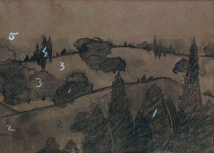 PAISAGEM - ESTUDO PARA MARCHETARIA - CARVÃO E GIZ/PAPEL - 31,5 x 45,0 cm - c.1901 - ACERVO DO SOLAR GRANDJEAN DE MONTIGNY - CENTRO CULTURAL DA PUC-RJ
