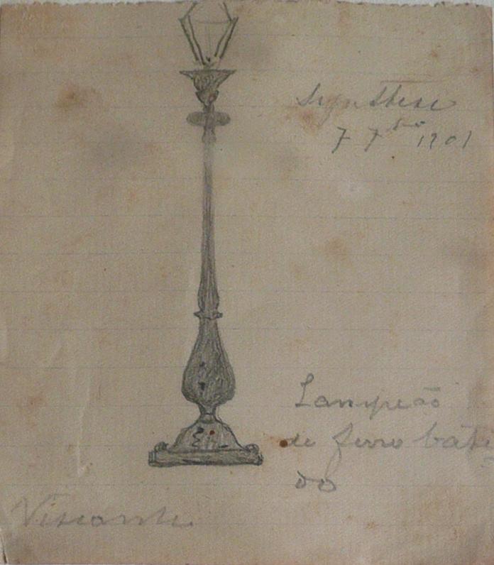 LAMPIÃO DE FERRO BATIDO - LÁPIS S/ PAPEL - 11 x 8 cm - c.1896 - COLEÇÃO PARTICULAR