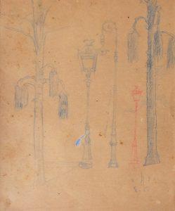 LAMPIÕES - ESTUDO - LÁPIS DE CÔR S/ PAPEL - 30 x 23 cm - 1921 - COLEÇÃO PARTICULAR