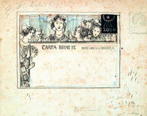 CARTA-BILHETE PARA O EXTERIOR - A COMUNHÃO REPUBLICANA - ESTUDO PARA CARTA-BILHETE INTEGRANTE DA COLEÇÃO VENCEDORA DO CONCURSO DOS CORREIOS DE 1904 - NANQUIM E GRAFITE/PAPEL - 17,5 x 20,0 cm - c.1903 - COLEÇÃO PARTICULAR
