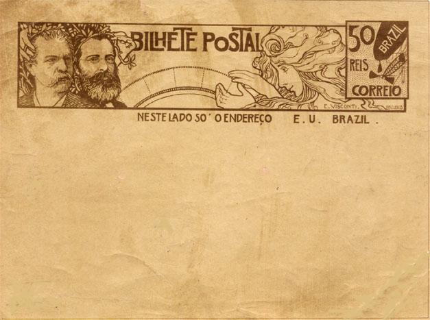BILHETE POSTAL PARA O INTERIOR - A LENDA BRASILEIRA - PROJETO PARA BILHETE POSTAL INTEGRANTE DA COLEÇÃO VENCEDORA DO CONCURSO DOS CORREIOS DE 1904 - NANQUIM E GRAFITE/PAPEL - 1903 - LOCALIZAÇÃO DESCONHECIDA