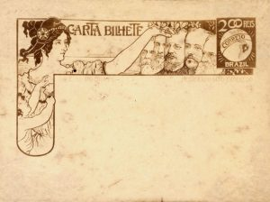 CARTA-BILHETE PARA O INTERIOR - FUNDAÇÃO DA NACIONALIDADE BRASILEIRA - ESTUDO NÃO UTILIZADO - NANQUIM E GRAFITE/PAPEL - 1903 - LOCALIZAÇÃO DESCONHECIDA