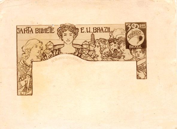 CARTA-BILHETE PARA O EXTERIOR - A COMUNHÃO REPUBLICANA - PROJETO PARA CARTA-BILHETE INTEGRANTE DA COLEÇÃO VENCEDORA DO CONCURSO DOS CORREIOS DE 1904 - NANQUIM E GRAFITE/PAPEL - 1903 - LOCALIZAÇÃO DESCONHECIDA