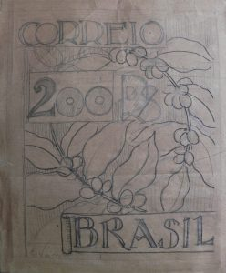 SELO PARA OS CORREIOS - ESBOÇO DE PROJETO NÃO UTILIZADO - GRAFITE S/ PAPEL - 33 x 28 cm - c.1903 - COLEÇÃO PARTICULAR