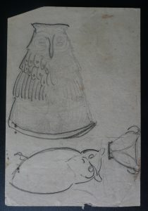 CORUJA E JARRO - CRAYON S/ PAPEL - 16 x 11 cm - c.1897 - DESMEMBRADO DE UM CADERNO DE ANOTAÇÕES - COLEÇÃO PARTICULAR