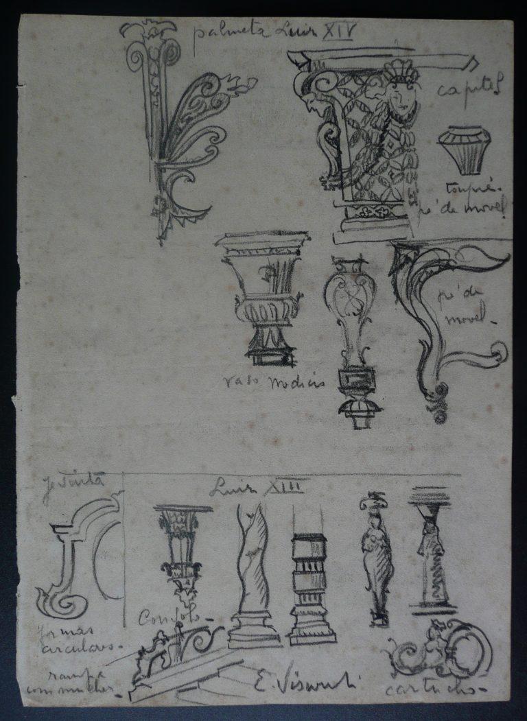 PEÇAS TORNEADAS EM MADEIRA - CRAYON S/ PAPEL - 23 x 16 cm - c.1897 - DESMEMBRADO DE UM CADERNO DE ANOTAÇÕES - COLEÇÃO PARTICULAR