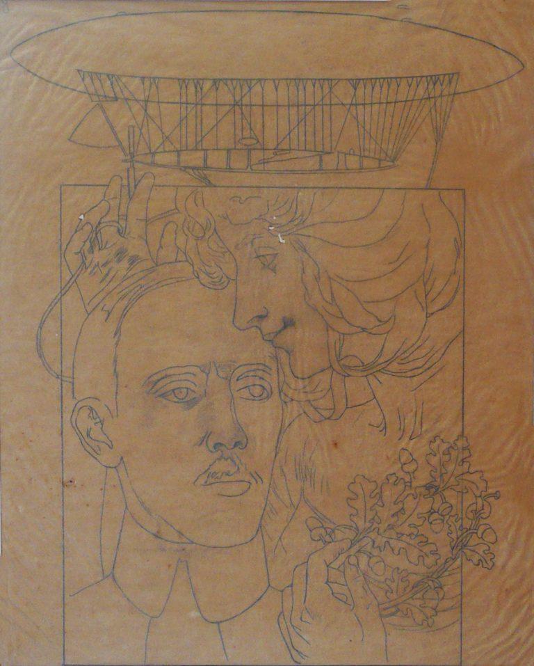 O BEIJO DA GLÓRIA A SANTOS DUMONT - ESTUDO - LÁPIS SOBRE PAPEL VEGETAL - 49 x 45 cm - 1901 - COLEÇÃO PARTICULAR