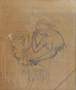 A LEI ÁUREA - ESTUDO PRELIMINAR PARA SELO INTEGRANTE DA COLEÇÃO VENCEDORA DO CONCURSO DOS CORREIOS DE 1904- LÁPIS SOBRE PAPEL VEGETAL - 29,5 x 25,0 cm - c.1903 - COLEÇÃO PARTICULAR