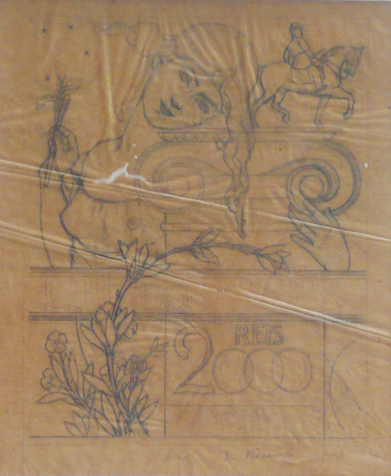 AS ARTES - ESTUDO PRELIMINAR PARA SELO INTEGRANTE DA COLEÇÃO VENCEDORA DO CONCURSO DOS CORREIOS DE 1904 - LÁPIS SOBRE PAPEL VEGETAL - 28 x 23 cm - c.1903 - COLEÇÃO PARTICULAR