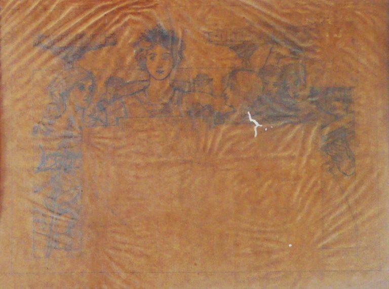 CARTA-BILHETE PARA O EXTERIOR – A COMUNHÃO REPUBLICANA – ESTUDO PRELIMINAR PARA CARTA-BILHETE INTEGRANTE DO CONCURSO DOS CORREIOS DE 1904 - LÁPIS SOBRE PAPEL VEGETAL - 33 x 44 cm - 1903 - COLEÇÃO PARTICULAR