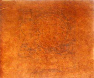 EX-LIBRIS DA BIBLIOTECA NACIONAL - ESTUDO PRELIMINAR DO PROJETO PRETERIDO - LÁPIS SOBRE PAPEL VEGETAL - 30,0 x 30,5 cm - 1903 - COLEÇÃO PARTICULAR