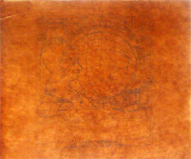 EX-LIBRIS DA BIBLIOTECA NACIONAL - ESTUDO - LÁPIS SOBRE PAPEL VEGETAL - 30,0 x 30,5 cm - 1903 - COLEÇÃO PARTICULAR