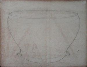 VASO - ESTUDO PARA IRIS SELVAGENS - CRAYON SOBRE PAPEL - 49 x 63 cm - c.1900 - COLEÇÃO PARTICULAR