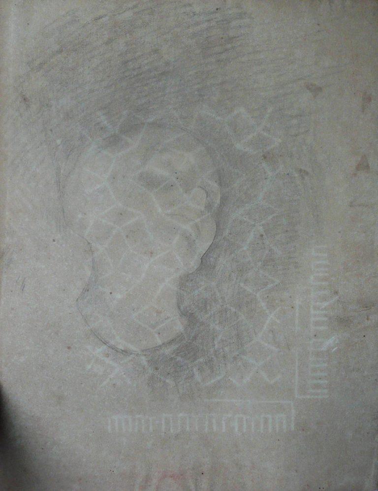 ESCULTURA - CABEÇA - VERSO DA OBRA D871 - CARVÃO E GIZ SOBRE PAPEL - 61 x 47 cm - c.1898 - COLEÇÃO PARTICULAR