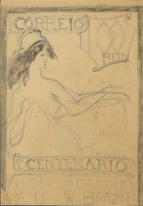 SELO PARA O CENTENÁRIO DA INDEPENDÊNCIA - ESTUDO - CRAYON SOBRE PAPEL - 36,5 x 23,0 cm - c.1922 - ACERVO DO BANCO ITAÚ