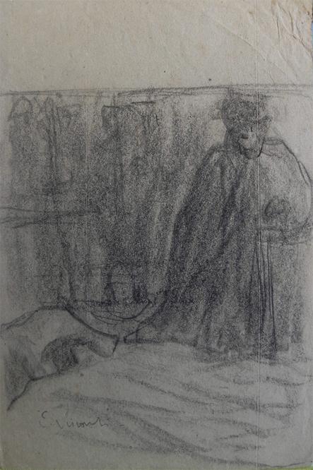 ESBOÇO PARA O TRÍPTICO LAR - CARVÃO S/ PAPEL - 25 x 16 cm - c.1922 - COLEÇÃO PARTICULAR