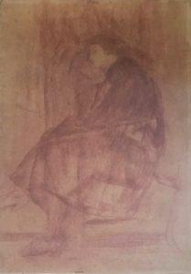MULHER SENTADA - SANGUÍNEA - 40,0 x 24,0 cm - c.1920 - COLEÇÃO PARTICULAR