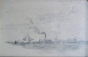 A BORDO DO VAPOR ARAGON - CRAYON/PAPEL - 15 x 22 cm - 1906 - COLEÇÃO PARTICULAR