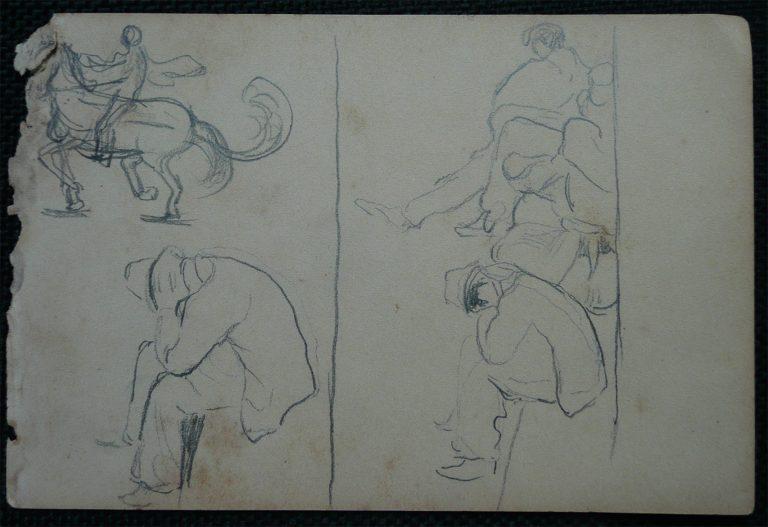 CAVALEIRO E ESPECTADORES - CRAYON S/ PAPEL - 10,5 x 16,0 cm - c.1900 - DESMEMBRADO DE UM CADERNO DE NOTAS - COLEÇÃO PARTICULAR